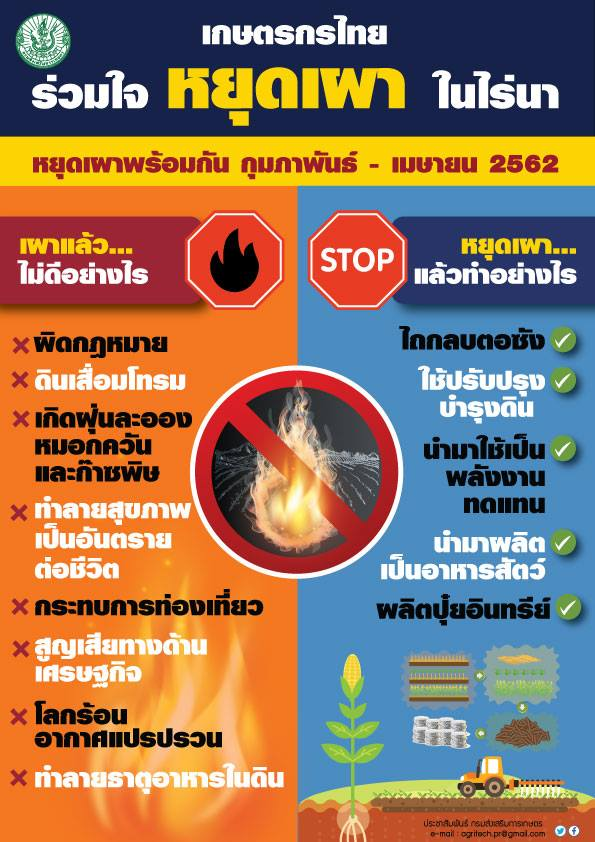 """เกษตรกรไทยร่วมใจ """"หยุดเผา"""" ในไร่นา"""