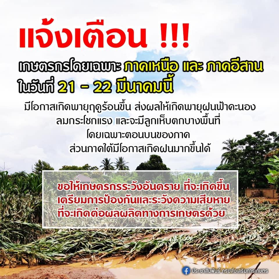 แจ้งเตือน !!! เกษตรกรโดยเฉพาะภาคเหนือ และภาคอีสาน ในวันที่ 21 – 22 มีนาคมนี้